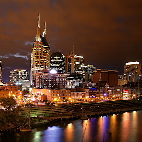 Nashville at Night by Jerry Ehlers - City,  Street & Park  Skylines ( lights, reflection, night, cityscape, downtown, river, city, reflections, mirror,  )