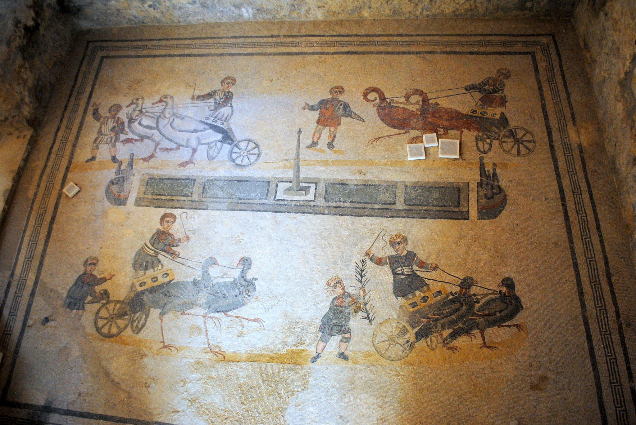 My Photos: Italy -- Mosaics -- Sicily -- Piazza Armerina -- The Room of the Small Circus Mosaic