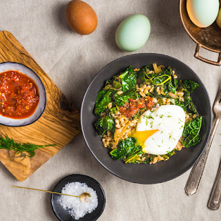 Stir Fried Farro with Garlicky Kale and Poached Egg.