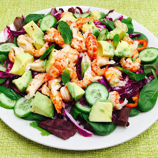 Crayfish Salad with Avocado, red Cabbage and Cucumber.