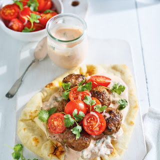 Beef Keftas on Naan Bread Recipe