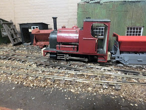 Photo: 012 A sturdy looking little 0-4-0ST rests between duties on Bob Cope's 0-16.5 Ashe Wharf .