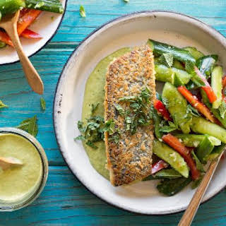 Coconut-crusted Trout With Smashed Cucumbers And Mint.