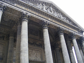 Photo: We are just down the street from the Pantheon, originally built as a church dedicated to St. Genevieve, but now combining liturgical functions with its role as a famous burial place. Among those entombed there are Voltaire, Rousseau, Marat, Victor Hugo, Émile Zola, Jean Moulin, Marie Curie, and Louis Braille.