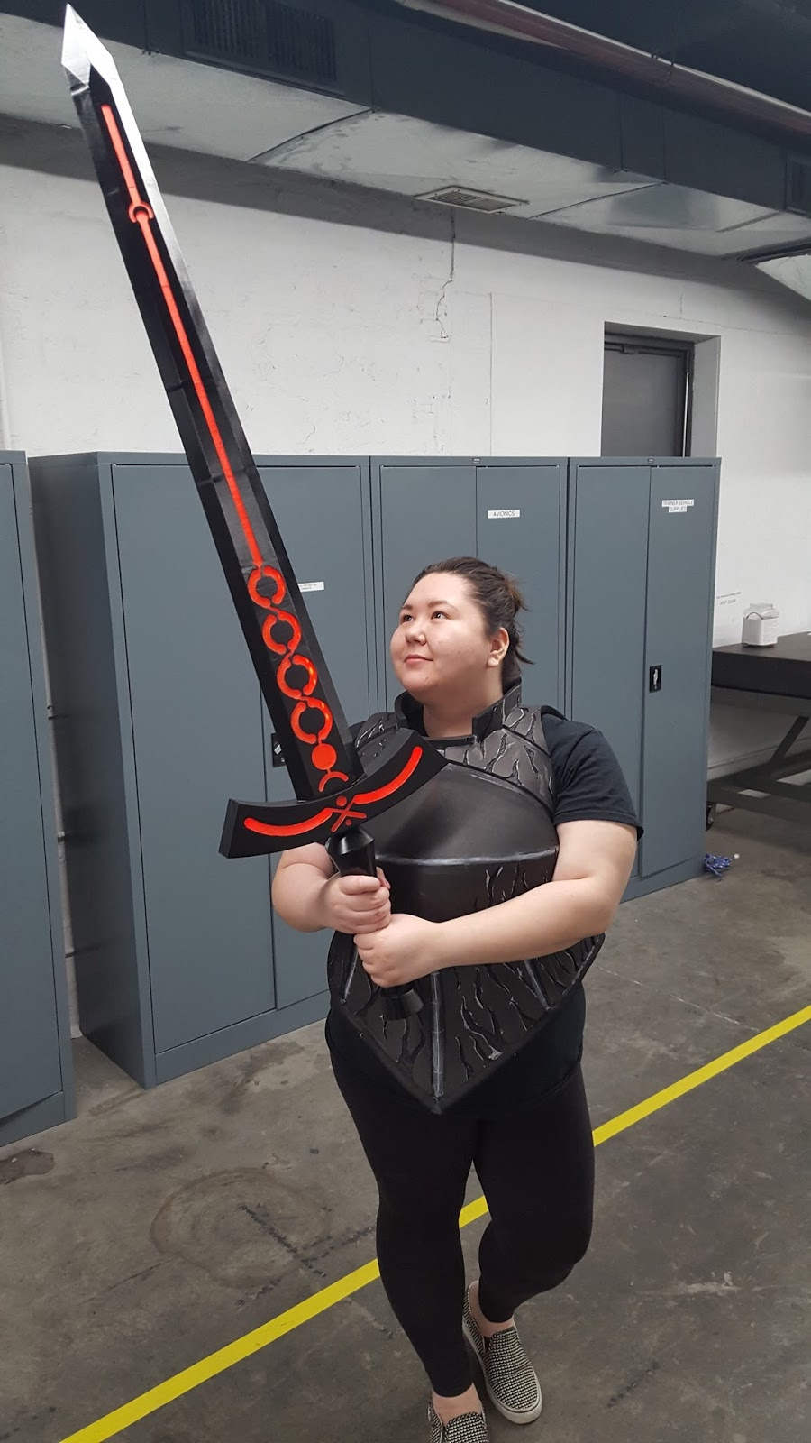 One of Alina's First 3D Printed Cosplay Builds, Saber Alter with Excalibur