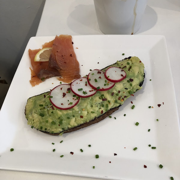 Avocado Toast with salmon & oat latte