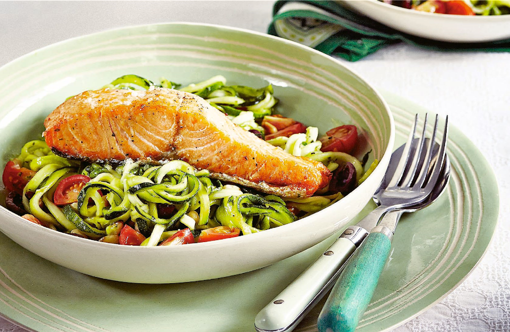 5. Salmon with creamy courgetti