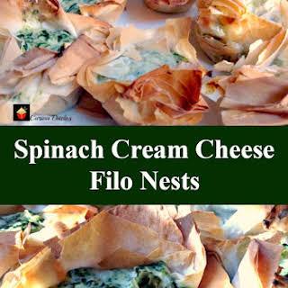 Spinach Cream Cheese Filo Nests.