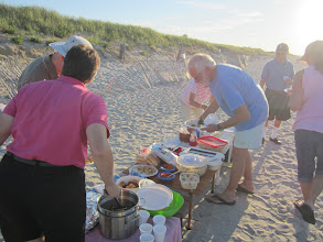 Photo: Lisa serves up the steamers.