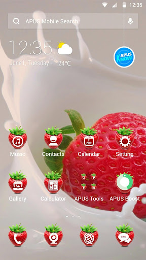 Strawberry-APUS Launcher theme for PC