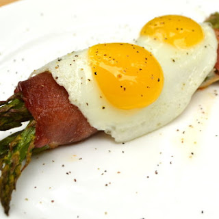 Bacon Wrapped Asparagus with Quail Eggs