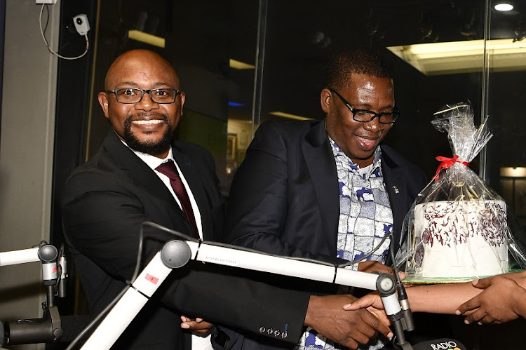 Gauteng Education MEC Panyaza Lesufi and Managing director at Bahwiti Investments, David Mogashoa during the Marawa Sports Worldwide Show hosted by Robert Marawa at Radio 2000 on August 01, 2019 in Johannesburg, South Africa.
