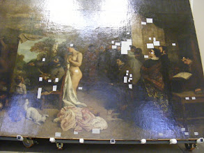 Photo: This very large (at least 20 foot high) painting is being restored on the first floor.