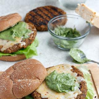 Quinoa, Black Bean, and Sweet Potato Burger with Avocado Crema and Buffalo Cheddar