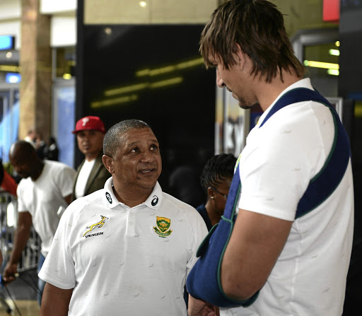 Allister Coetzee, left, and Bok captain Eben Etzebeth at OR Tambo International Airport on Monday, December 4 2017. Picture: LEE WARREN/ GALLO IMAGES