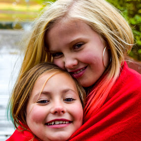 Sisterly Love by Deborah Lucia - People Family ( love, sisters, red, family, christmas, siblings )