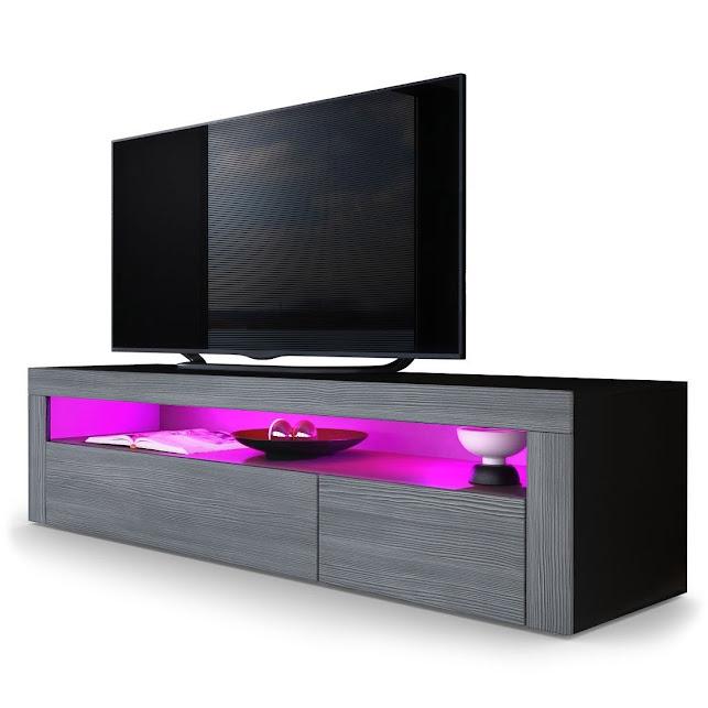Porta tv nero con led Giglio, mobile per soggiorno moderno, frontali ...