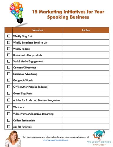 15 Marketing Initiatives Checklist