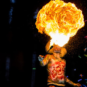 traditional tiger dance with fire breath by Kiran Ark - People Musicians & Entertainers ( street, candid, dance, man, flame,  )