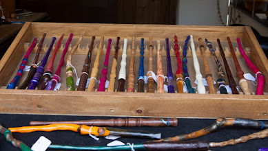 Photo: Mike's wands show great imagination and have taken on a life of their own, possessing many different characteristics based on wildly varying shapes, colors, and textures, and added bits of decoration.