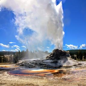 Castle Geyser Yellowstone by Karen Coston - Landscapes Travel ( geyser, nature, wyoming, yellowstone national park, eruption )