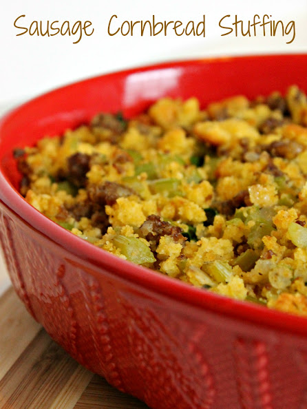Sausage Cornbread Stuffing is a tasty side dish for holiday parties