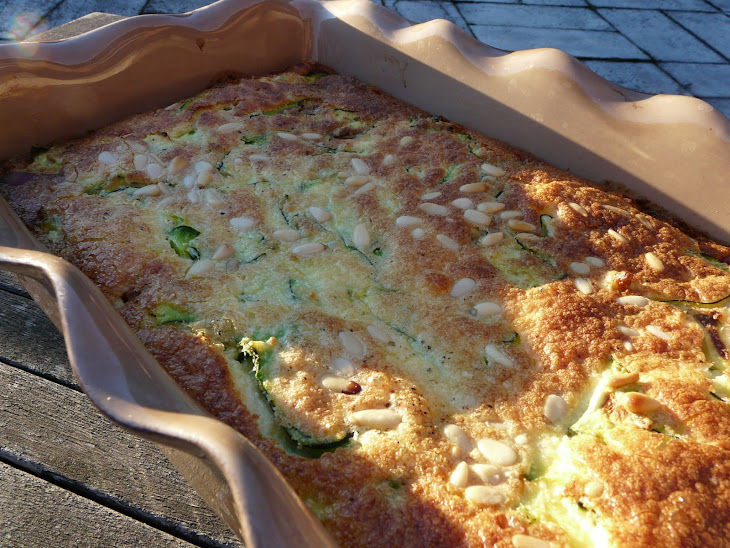 Clafouti with Zucchini, Raw Ham, Feta and Pine Nuts Recipe