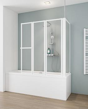 Pare baignoire, jusqu'à 160 cm, 3 éléments avec paroi latérale
