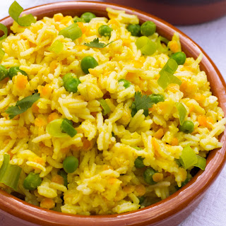 Indian Saffron Yellow Rice Pilaf.
