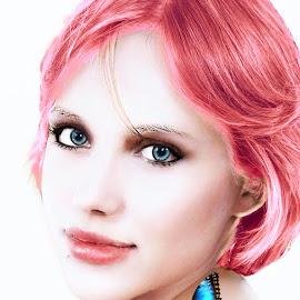 Megan in pink hair by Len Lambert - Digital Art People ( pink, hair, blue, butterfly, hot )