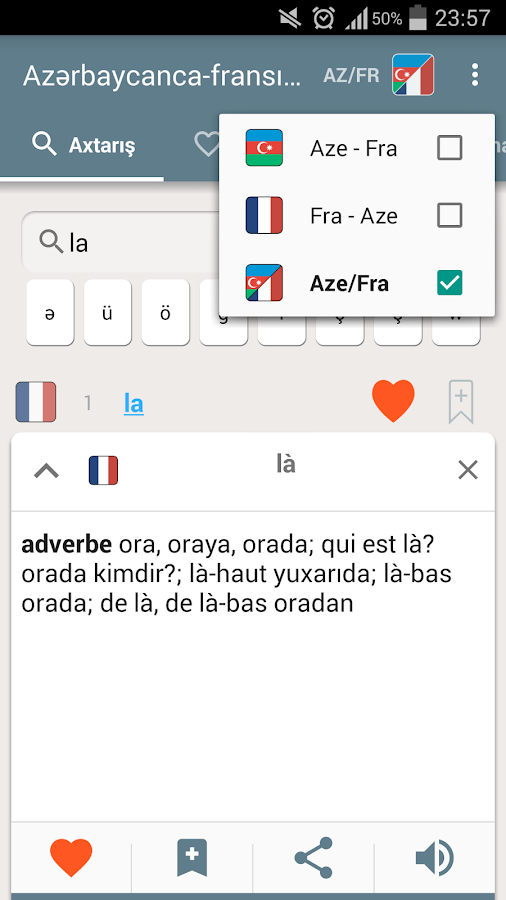 French-Azerbaijani dictionary- screenshot