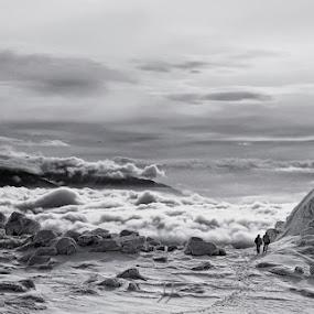 Insignificant BW by Malinov Photography - Landscapes Mountains & Hills ( clouds, vitosha, mountain, winter, landscape, bulgaria, black and white, b and w, b&w, monotone, mono-tone )