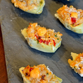 Crab Dip Stuffed Artichoke Hearts