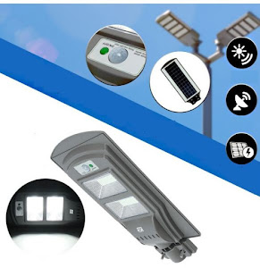 Lampa stradala 60W, 80 LED cu panou solar, acumulator