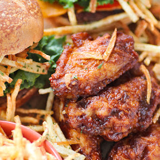 Shoestring Fries Beef Sliders with Honey BBQ Chicken Wings + Honey Mustard Dipping Sauce