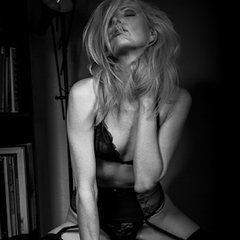 In the Mood by Paul Phull - Nudes & Boudoir Boudoir ( blonde, sexy, lingerie, black and white, boudoir )