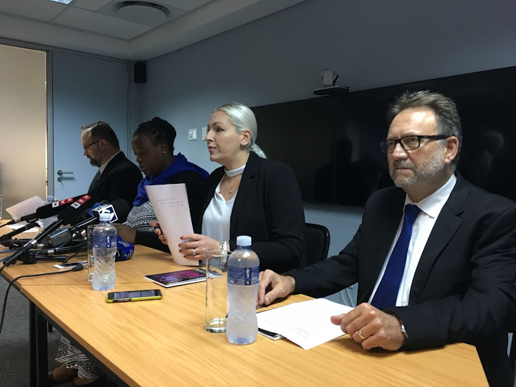 Mike Waters, Refiloe Ntsekhe, Natasha Mazzone, and James Selfe address the media after a meeting of the DA federal executive on Tuesday. Picture: ANTHONY MOLYNEAUX