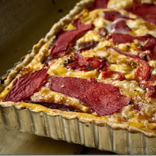 Roasted Red Pepper and Goat Cheese Tart.