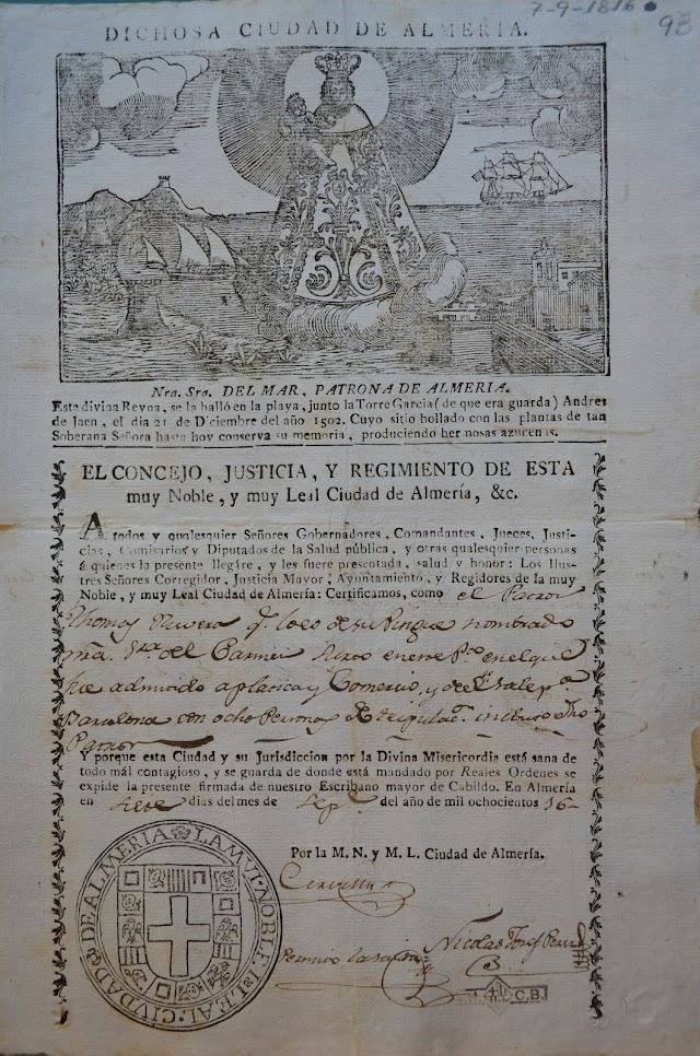 Patente de sanidad de 1816 presidida por la Virgen del Mar sobre nubes como patrona y protectora de la ciudad.