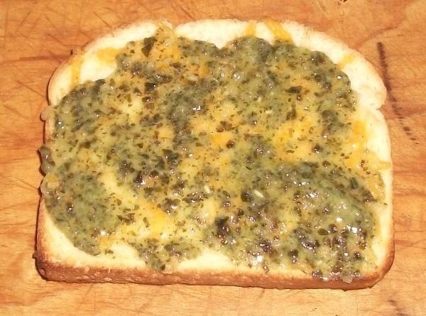 Cheesy Pesto Toast Recipe