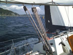 Photo: 網を避けて保田港へ