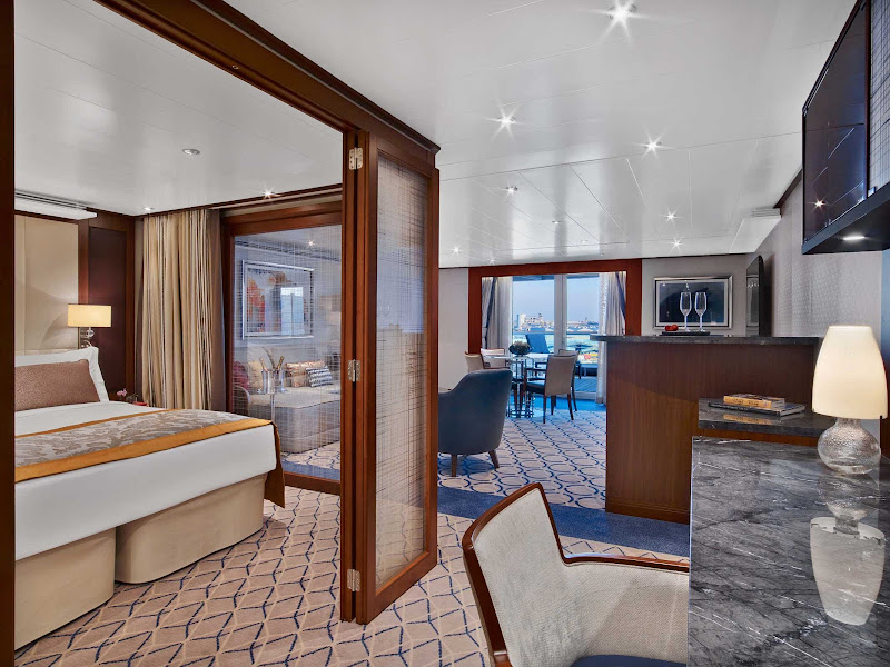 The Penthouse Spa Suite on Seabourn Encore features a comfortable living area, queen bed, walk-in closet, flat-screen TV and more.