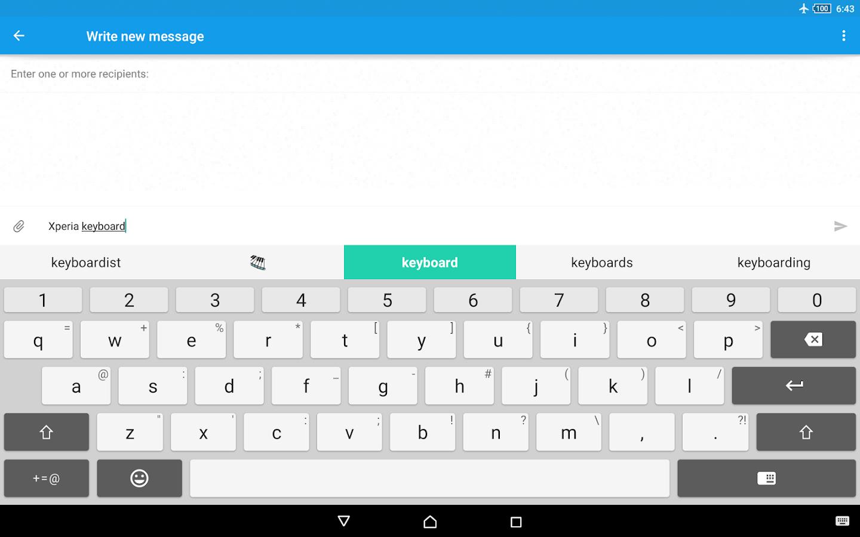 Teclado Xperia™: captura de tela