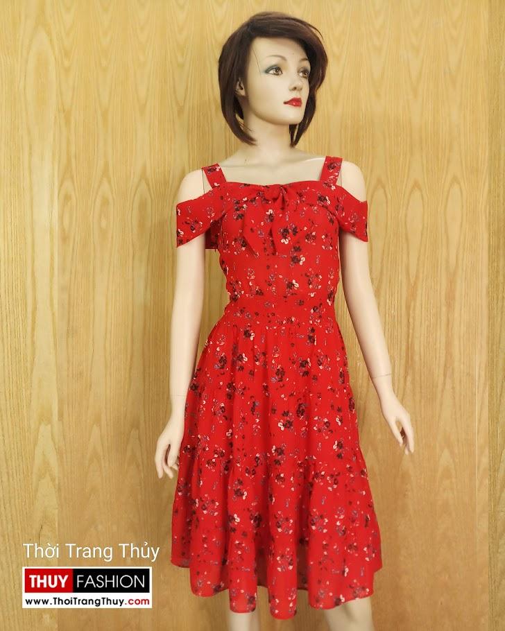 Váy xòe hai dây hở vai hoa nhí màu đỏ V685 thời trang thủy hải phòng