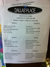 Photo: Dallas's Place Menu, Crossville, AL