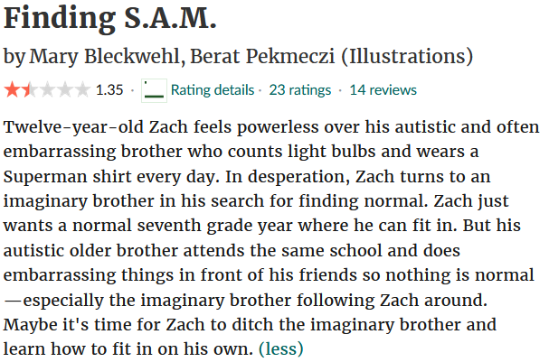 Finding S.A.M. by Mary Bleckwehl, Berat Pekmeczi (illustrations)  Average rating: 1.35. 23 ratings. 14 reviews.  Twelve-year-old Zach feels powerless over his autistic and often embarrassing brother who counts light bulbs and wears a Superman shirt every day. In desperation, Zach turns to an imaginary brother in his search for finding normal. Zach just wants a normal seventh grade year where he can fit in. But his autistic older brother attends the same school and does embarrassing things in front of his friends so nothing is normal—especially the imaginary brother following Zach around. Maybe it's time for Zach to ditch the imaginary brother and learn how to fit in on his own.