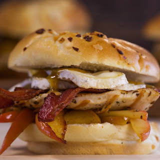 Pork or Chicken Sandwiches with Apples, Bacon and Camembert