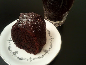 Photo: chilli chocolate cake with cacao nibs served with French press brewed coffee