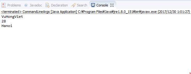Java - Kết quả in ra đối số command line