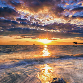 Washed Away by SyaFiq Sha'Rani - Landscapes Sunsets & Sunrises ( clouds, sky, waterscape, sunset, wash, stone, sun, slow shutter )